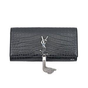 Saint Laurent Monogram Kate Tassel Leather Clutch